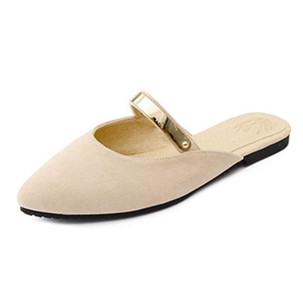 2b090b5442199 BEIGE Lashoes Flat Slippers with Pointed Toe for for for Fashion ...