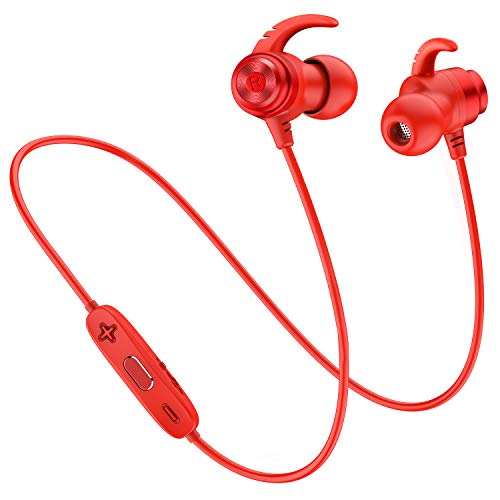 Picun Bluetooth Headphones Wireless Sport Earphones Lightweight Magnetic Earbuds Sweatproof in Ear Earphones with Built-in Mic Wireless Bluetooth Headphones for Running Gym Workout (Red)