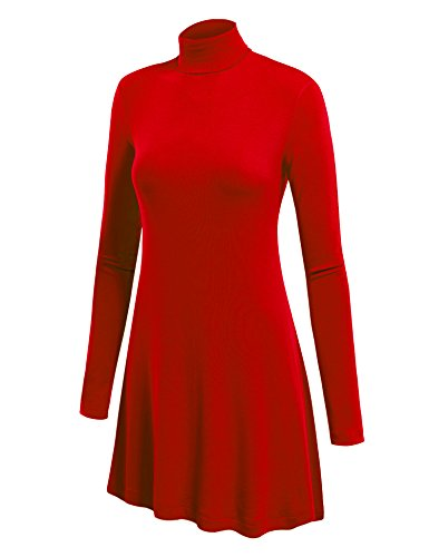 Come Together California CTC WT992 Womens Long Sleeve Turtleneck Sweater Tunic With Various Hem M Red -