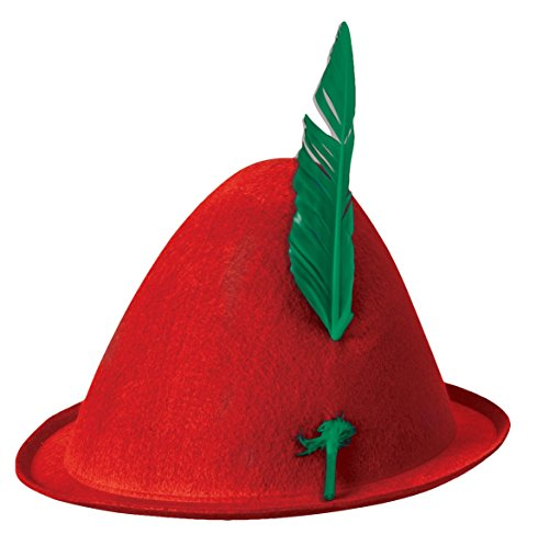 Forum Men's Alpine Hat with Feather, Red, One -