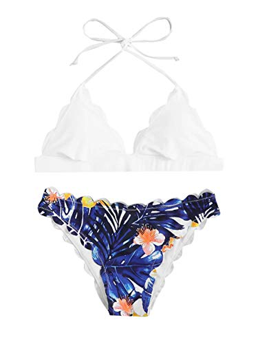 SweatyRocks Women's Sexy Bathing Suits Scallop Halter Bikini Top Floral Print Two Piece Swimsuits White Small