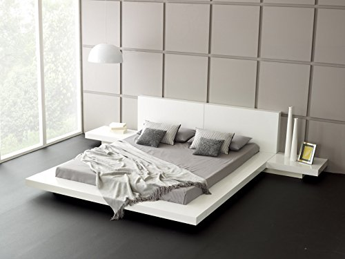 Fujian Modern Platform Bed + 2 Night Stands Queen (Glossy White)