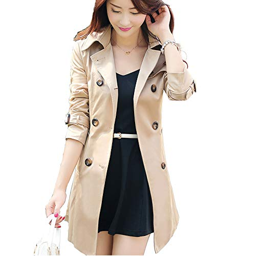 Farvalue Women's Double Breasted Belted Petite Lapel Khaki Trench Coat ()