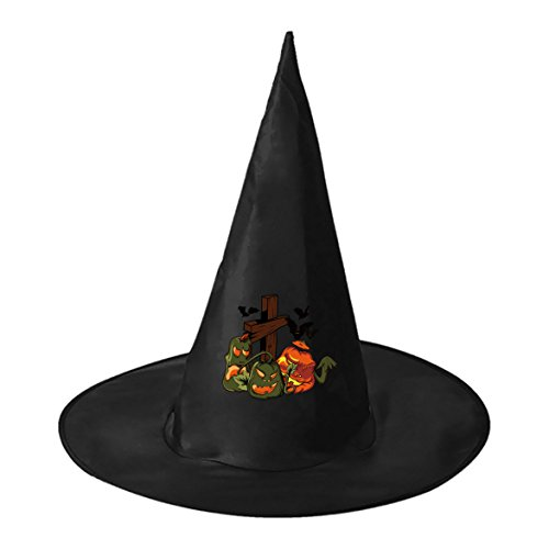 SEBIDAI Wicked Pumpkin Lamp Bat Black Wizard Cap Witch Hat for Adults Kids Halloween Costume Party