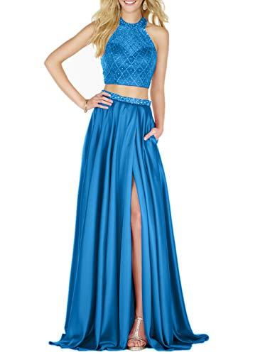 Ballkleider Rock Blau Lang Linie Perlen Abendkleider teilig mia Pailletten A Festlichkleider Satin La Braut Promkleider Zwei nOw8CqC6U