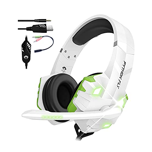 PYTHON FLY G9000 MAX White Wired Stereo Gaming Headset Noise Cancelling PC With Mic
