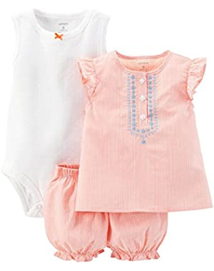 Baby Girls' 3 Piece Striped Romper Set (Baby) Purple