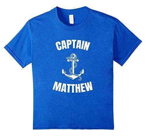 Last Minute Sailor Costume (Kids Captain Matthew T-Shirt Personalized Boat Captain Shirt 6 Royal Blue)