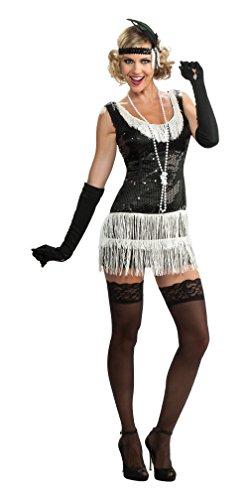 [Rubie's Costume Deluxe Adult Black Sequin Flapper Dress, Black, Medium] (Really Sexy Halloween Costumes)