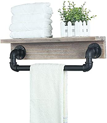Mbqq Industrial Bathroom Shelves Wall Mounted With Towel Bar
