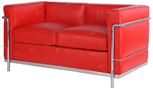 MLF Le Corbusier Style Sofa Loveseat, Aniline Leather, Deep Red