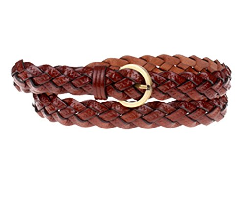 Braided Jean Belt (Qunson Womens 42 Inch Braided Skinny Leather Belt)