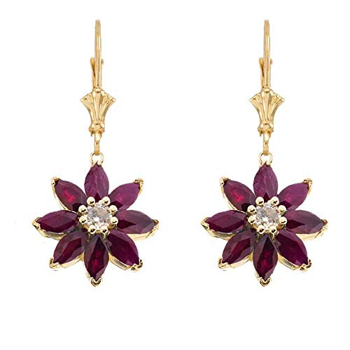 Exotic 14k Yellow Gold Daisy Diamond and Ruby Flower Leverback Earrings