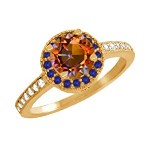 1.28 Ct Round Ecstasy Mystic Topaz Blue Sapphire Gold Plated Silver Ring