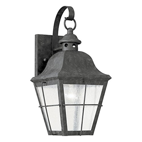 (Sea Gull Lighting 8462-46 Chatham One-Light Outdoor Wall Lantern with Clear Seeded Glass Panels, Oxidized Bronze Finish)