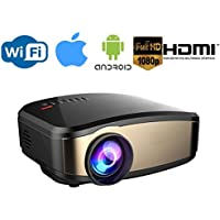 Wireless WiFi Video Projector,130 Display Full HD 1080p LED Video Projector, HDMI USB VGA AV Input for iPhone Android Phone, PC, Laptop, Smartphone, Xbox, PS4, nVIDIA Shield, Android / Apple TV