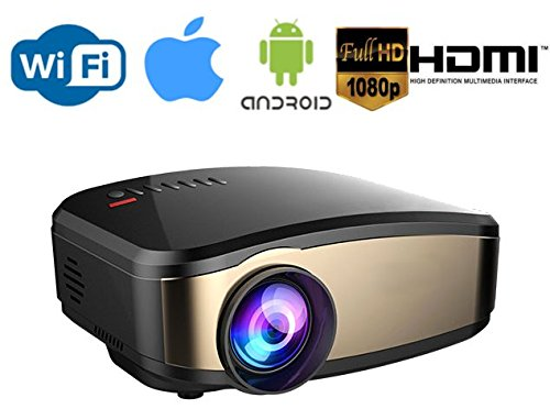 Wireless WiFi Video Projector,130″ Display Full HD 1080p LED Video Projector, HDMI USB VGA AV Input for iPhone Android Phone, PC, Laptop, Smartphone, Xbox, PS4, nVIDIA Shield, Android / Apple TV