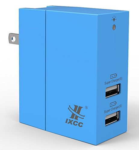 iXCC 20W Dual USB Ports Wall Charger High Speed Charging Travel Charger for iPhone 7 / 6s / Plus, iPad, Samsung Galaxy, LG, Nexus and More - Blue
