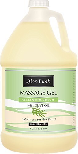Bon Vital' Therapeutic Touch Massage Gel Made with Olive Oil to Repair Dry Skin & Soothe Sore Muscles, Contains Anti-Aging Properties to Calm Skin Inflammation and Reduce Apperance of Wrinkles, 1 Gal