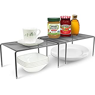Sorbus Pantry Cabinet Organizers — Features Stackable Expandable Shelves Made of Steel — Ideal for Pantry, Cabinet, Countertop, and Much More in Kitchen/Bathroom (Silver, Set of 2)