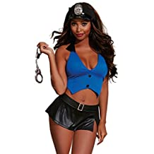 Dreamgirl Women's Policewoman-themed Top and Skirt With Handcuffs and Hat
