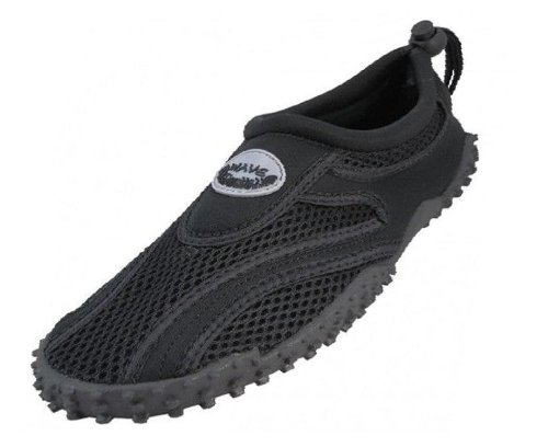 Easy USA Womens Aqua Wave Water Shoes (7, Black/Black)