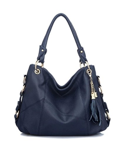Hobo Purse Tassel Cow Daily Girls Bag Leather Shoulder Womens Blue Katoony Crossbody Satchel Handbag Tote awf7XxqWW