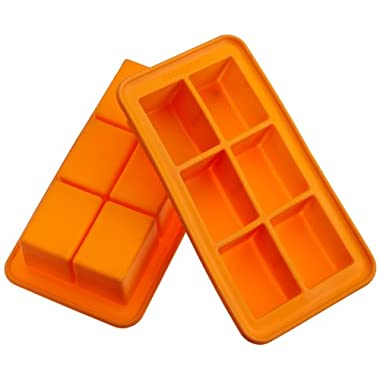 Casabella Silicone Big Cube Ice Cube Tray, Set Of 2