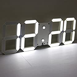 3D Acrylic White Large Digital LED Skeleton Wall Clock Timer 24/12 Hour Display