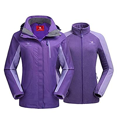 CAMEL CROWN Women's Outdoor Sports Jacket 3 in 1 Ski Waterproof Mountain Coat Windproof Hooded with Inner Warm Fleece Coat