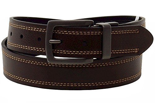 [Dickies Mens 35mm Reversible Stitched Cut Edge Leather Belt with Logo in Buckle - Black/Brown (Size 32)] (Leather Logo Buckle Belt)