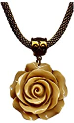 Brass and Tan Resin Flower Rose Antiqued Bronze Choker Pendant Necklace 17-20 Inches