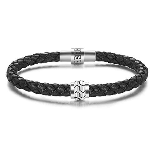 Carleen Path 925 Sterling Silver Genuine Mens Leather Bracelet Braided Energy Charm Magnetic Clasp, 7.5