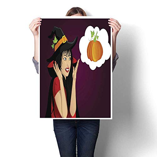 wall hangings Halloween Beautiful woman in hat and witch costume is surprised and shows hands wow Vector Thinking bubble with pumpkin inside Greet Decorative Fine Art canvas Print Poster K 24