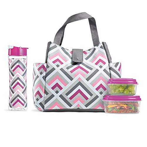 Fit & Fresh Westport Insulated Lunch Bag Cooler Bag Tote Bag Kit for Women/Work/Picnic/Beach/Sporting Event, Reusable Containers, Water Bottle, Magenta