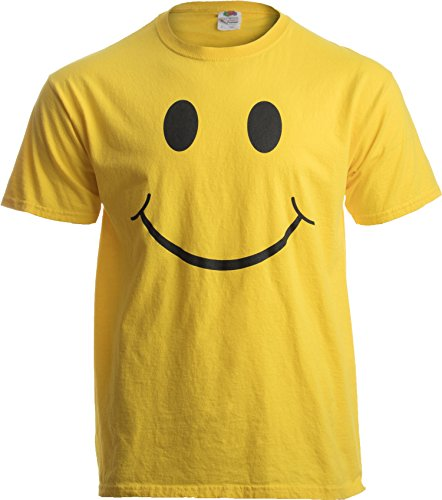 Happy T-shirt Face - SMILEY FACE (SMILE) TEE! Adult Unisex T-shirt / Positive, Optimist, Sunny, Happy Shirt, yellow, Large