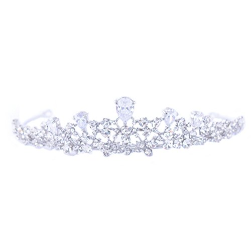 FF Rhinestone Tiara Birthday Crown Silver Plated for Girls