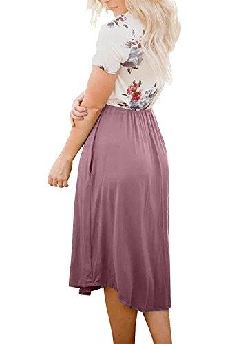 Print Swing Short Floral Casual Patchwork Sleeve Bluetime Midi Pleated Purple Dress Women's q6a8YY