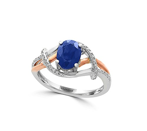 Effy 14K White and Rose Gold Diamond and Sapphire Ring