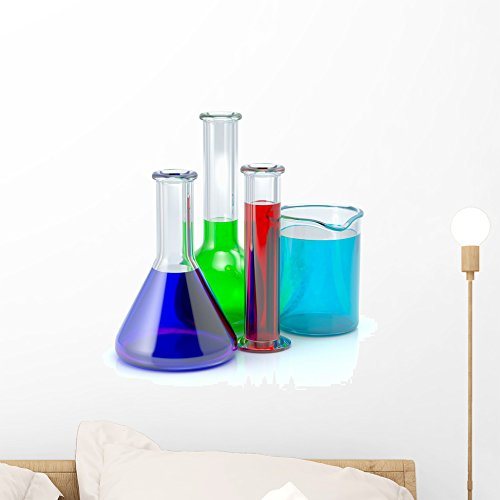Wallmonkeys Chemical Test-tubes Laboratory Glassware Wall Decal Peel and Stick Graphic WM167622 (18 in H x 18 in W) - Laboratory Flasks Glassware