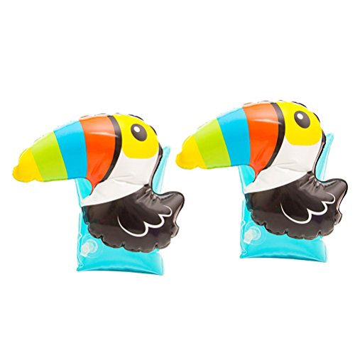VORCOOL 1 Pair Kids Inflatable Arm Floaties Inflatable Arm Bands Floatation Sleeves Water Wings Swimming Arm Floats for Baby Kids Children (Toucan) by VORCOOL