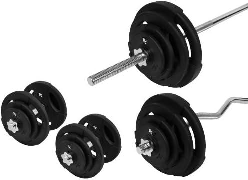 De goma-Gripper dumbbellobject-Set 76,5 kg (1 x barra de pesas ...