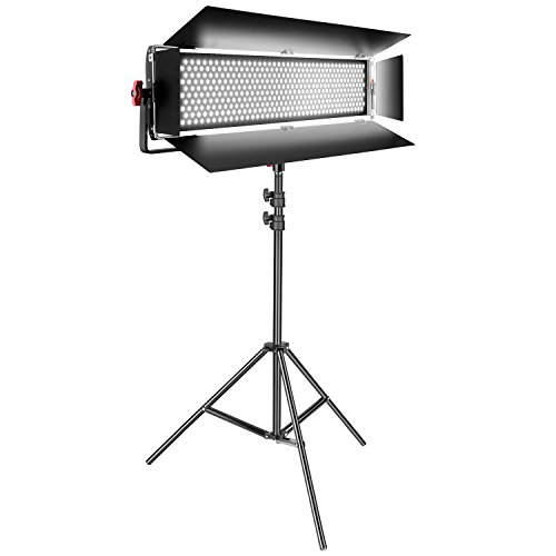 Neewer Dimmable Bi-color SMD 800 LED Video Light Lighting Kit 200W 3200-5600K CRI 95+ with U Bracket and Barn door and 6.5 feet Light Stand for Studio Portrait Video Shooting by Neewer
