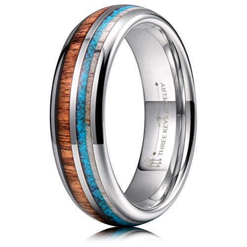 THREE KEYS JEWELRY 6mm Silver Tungsten Wedding Ring with Real Koa Wood Antler Turquoise Inlay Dome Hunting Ring Wedding Band Engagement Ring Size 12