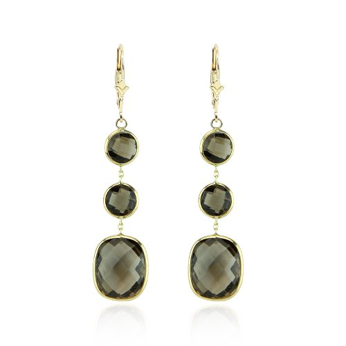 14K Yellow Gold Dangle Earrings With Smoky -