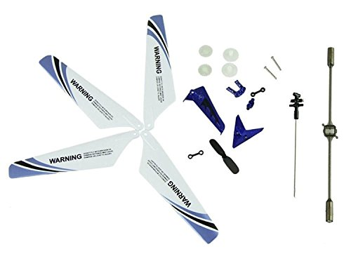Eastvita-Full-Set-Replacement-Parts-including-Main-Blades-Main-ShaftTail-Decorations-Tail-Props-Balance-Bar-Gear-SetConnect-Buckle-Blue-Set-for-Syma-S107-RC-Helicopter