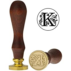 Yoption Classic Letter K Vintage Retro Brass Head Wooden Handle Initial Sealing Wax Seal Stamp (K)
