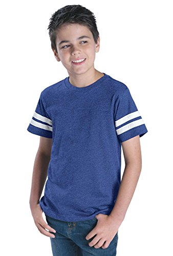 LAT Youth Jersey Crew Neck Short Sleeve Football Tee (Vintage Royal/Blended White, Large)