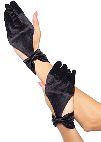 Leg Avenue Satin Cut Out Women's Costume Gloves, Black
