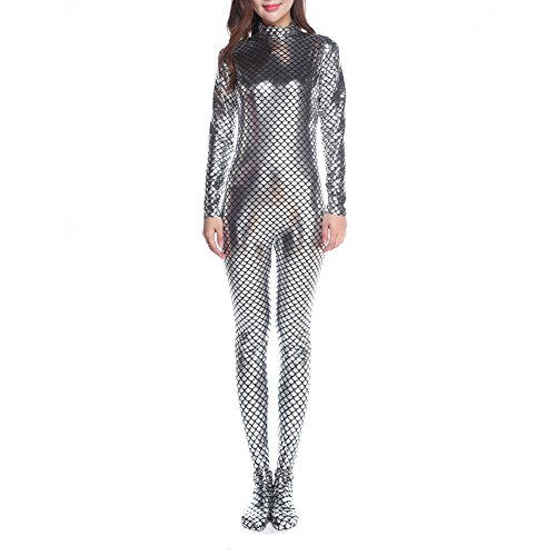 Muka Adult Long-Sleeve Unitard Bodysuit Dancewear Mermaid Costume-Silver-Made to measure
